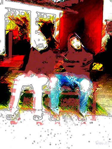 Chillen auf der Bank / People with out.faces / Brigite Felician Siebrecht