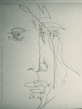 night sketching line.men selfie by brigitte felician siebrecht