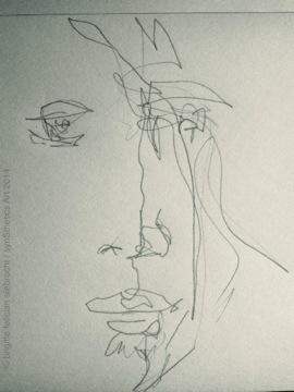 night sketching line.men selfie by brigitte felician siebrecht
