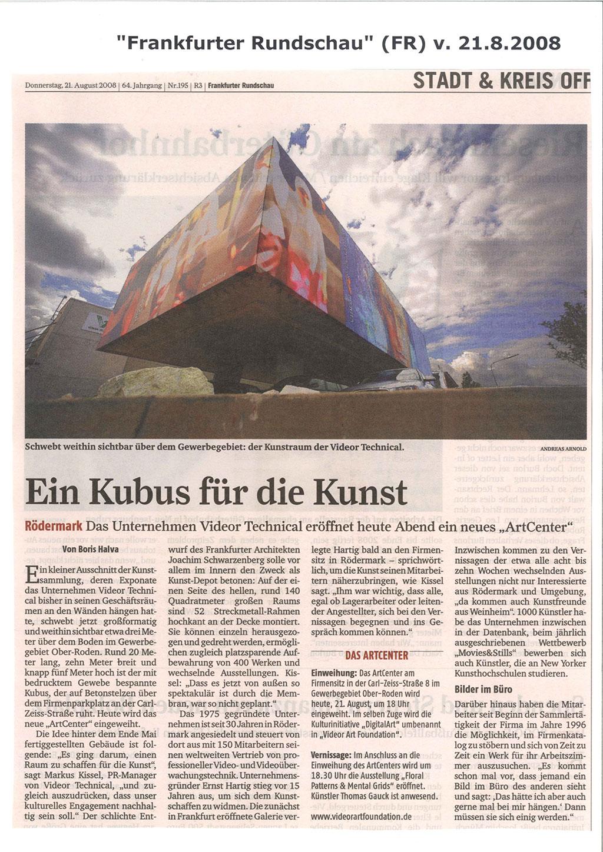 Einweihung des Art Center, Frankfurter Rundschau, 21.8.2008