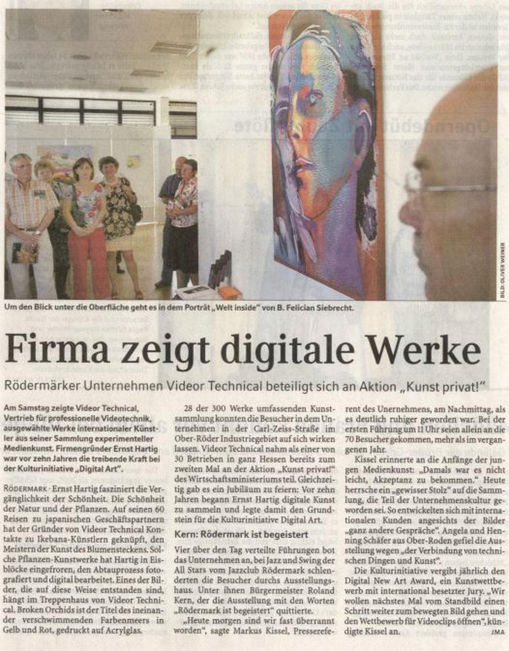 Kunst privat!, Firma zeigt digitale Werke, Frankfurter Rundschau 03.07.2006