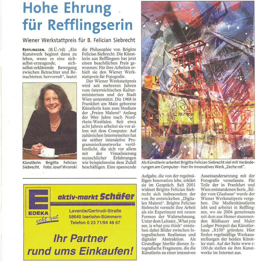 Wiener Werkstattpreis für Refflingserin, Iserlohner Kreisanzeiger Jan 2016