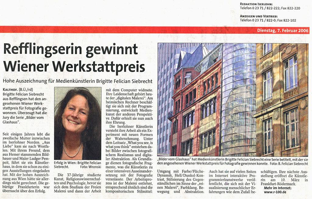 Refflingserin gewinnt Wiener Werkstattpreis, IKZ 2006