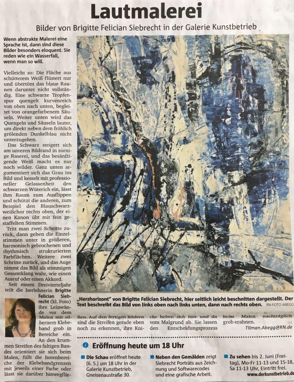 "Artikel ""Lautmalerei"" T. Abegg, Ruhrnachrichten 6.5.2017"