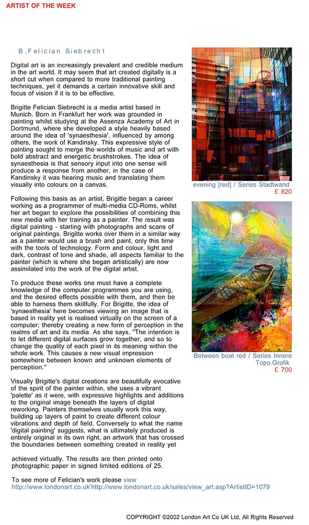 B.Felician Siebrecht is artist of the week at the LondonArt Gallery, LondonArt magazine, 27.11.2006