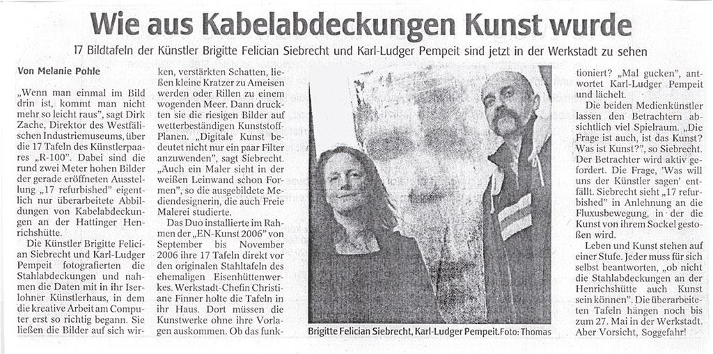 """Ausstellungseröffnung, Werk°Stadt Witten, """"17 refurbished"""", WAZ 27.03.2007"""